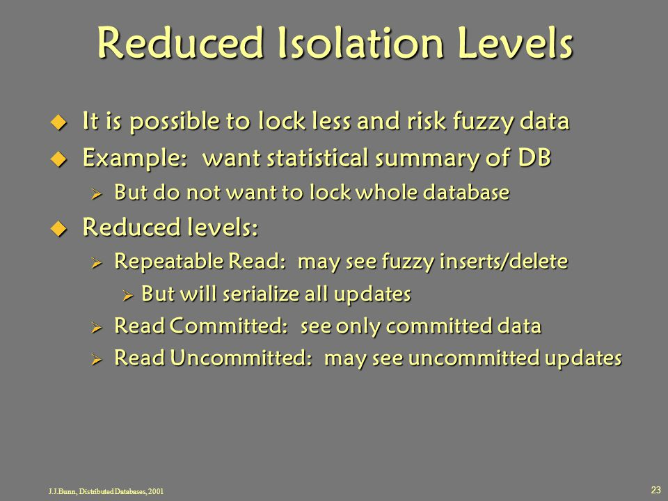Reduced Isolation Levels