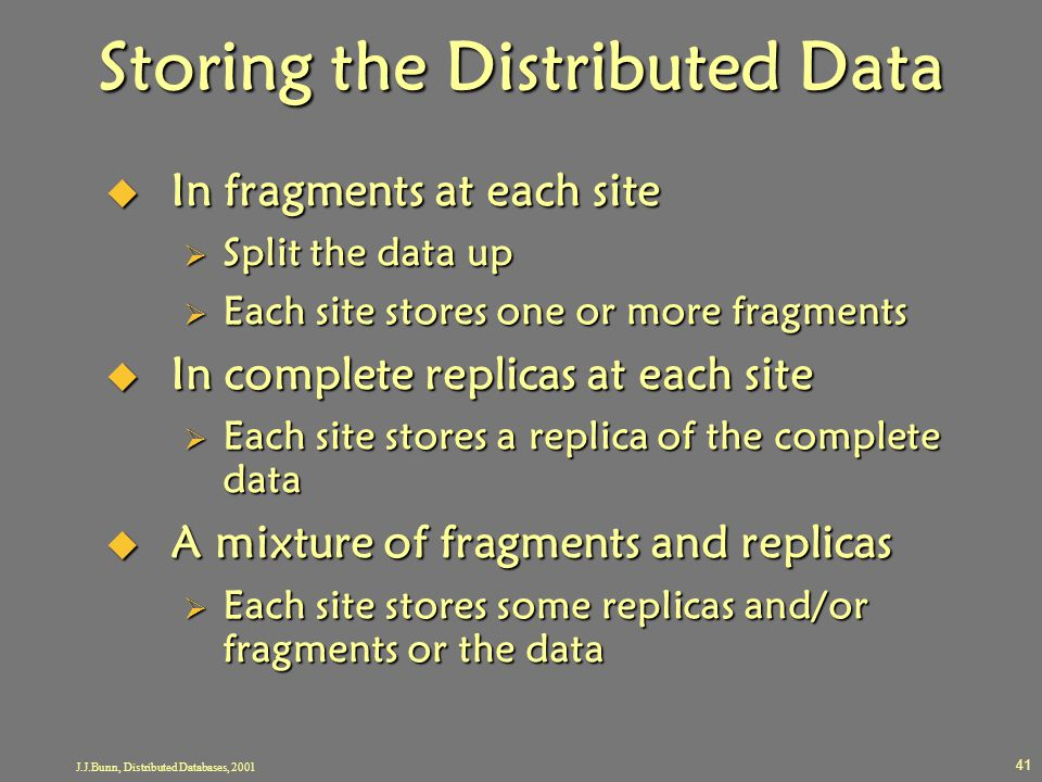 Storing the Distributed Data