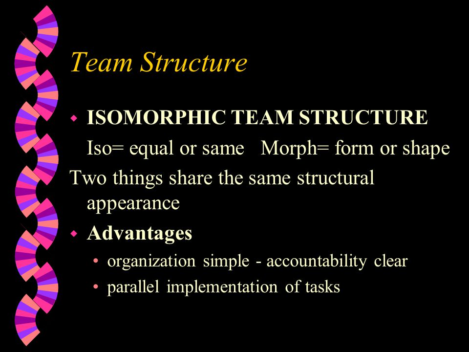 Team Structure ISOMORPHIC TEAM STRUCTURE