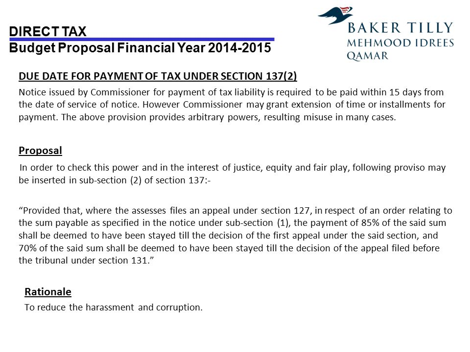 DUE DATE FOR PAYMENT OF TAX UNDER SECTION 137(2)