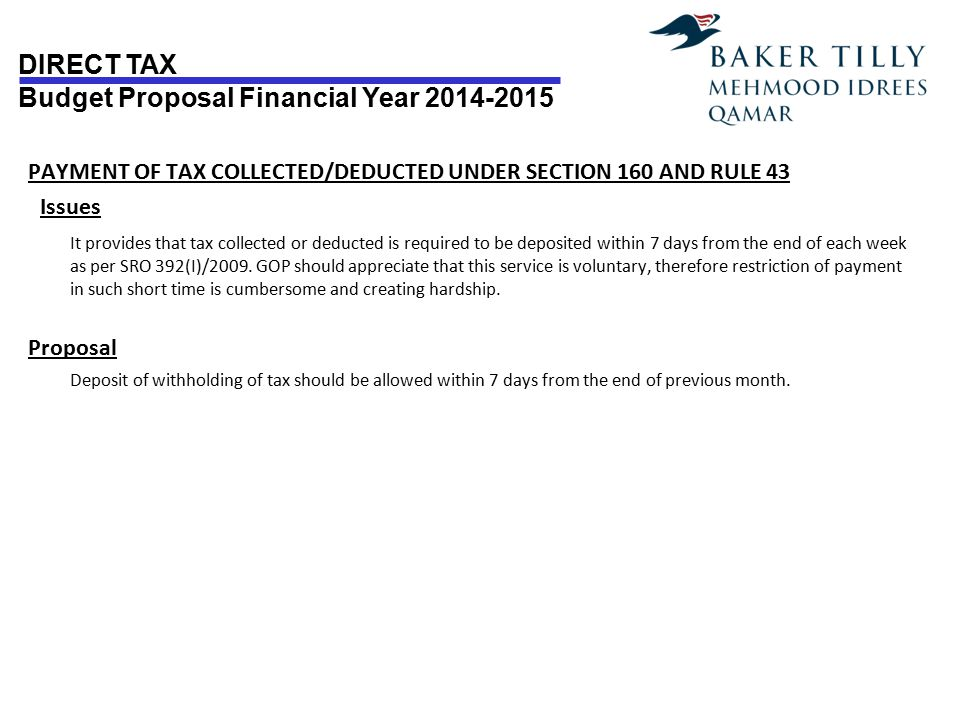 PAYMENT OF TAX COLLECTED/DEDUCTED UNDER SECTION 160 AND RULE 43 Issues