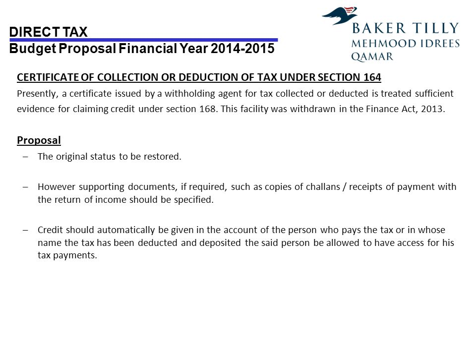 CERTIFICATE OF COLLECTION OR DEDUCTION OF TAX UNDER SECTION 164
