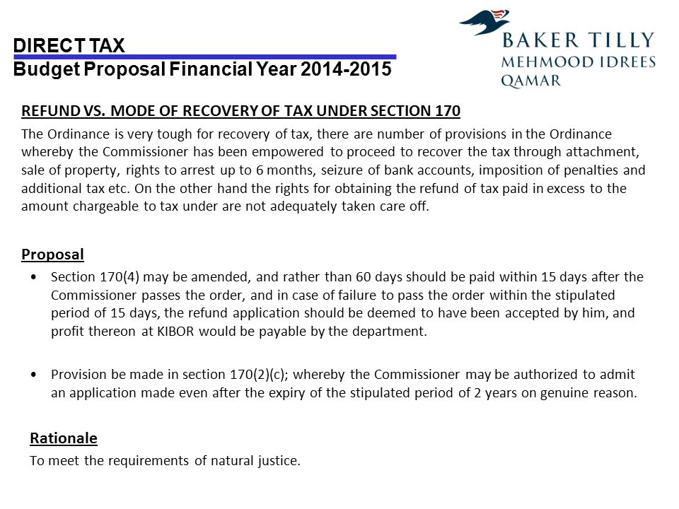 REFUND VS. MODE OF RECOVERY OF TAX UNDER SECTION 170