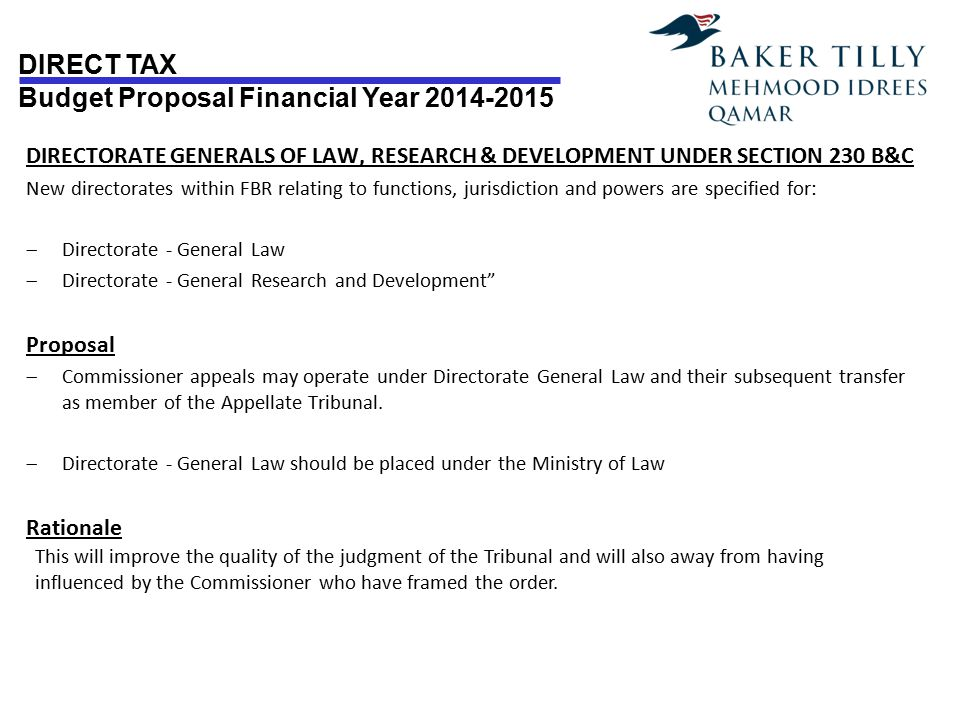 DIRECTORATE GENERALS OF LAW, RESEARCH & DEVELOPMENT UNDER SECTION 230 B&C