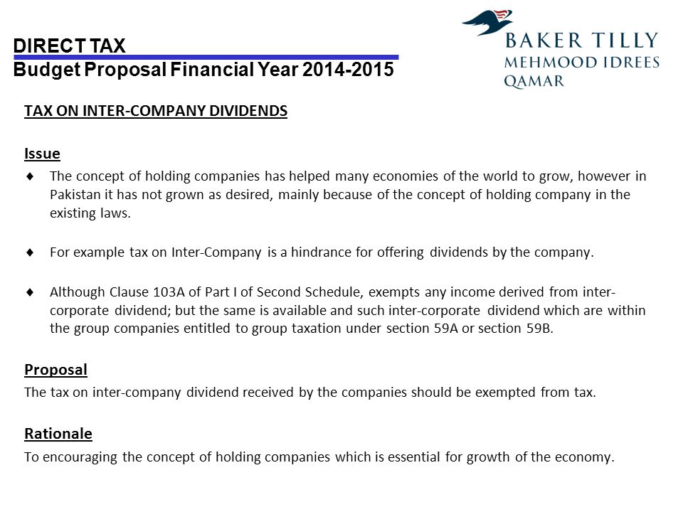 TAX ON INTER-COMPANY DIVIDENDS Issue