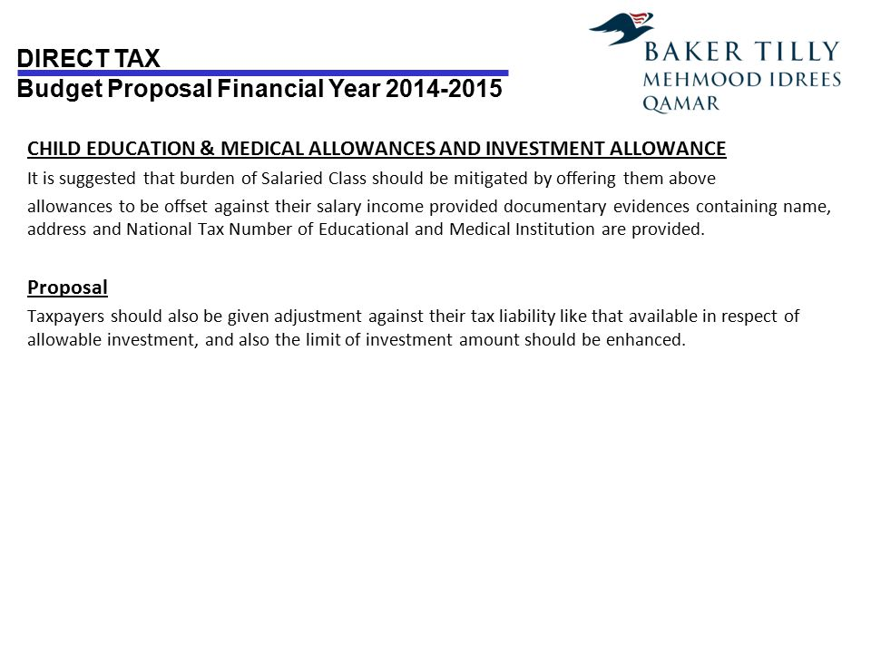 CHILD EDUCATION & MEDICAL ALLOWANCES AND INVESTMENT ALLOWANCE