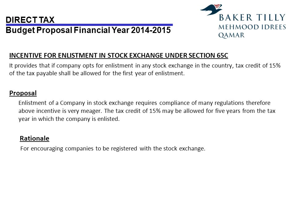 INCENTIVE FOR ENLISTMENT IN STOCK EXCHANGE UNDER SECTION 65C