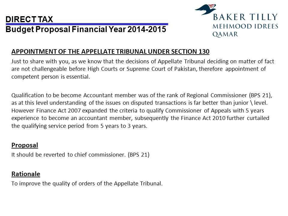 APPOINTMENT OF THE APPELLATE TRIBUNAL UNDER SECTION 130