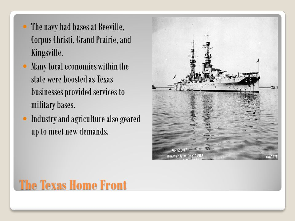 The navy had bases at Beeville, Corpus Christi, Grand Prairie, and Kingsville.