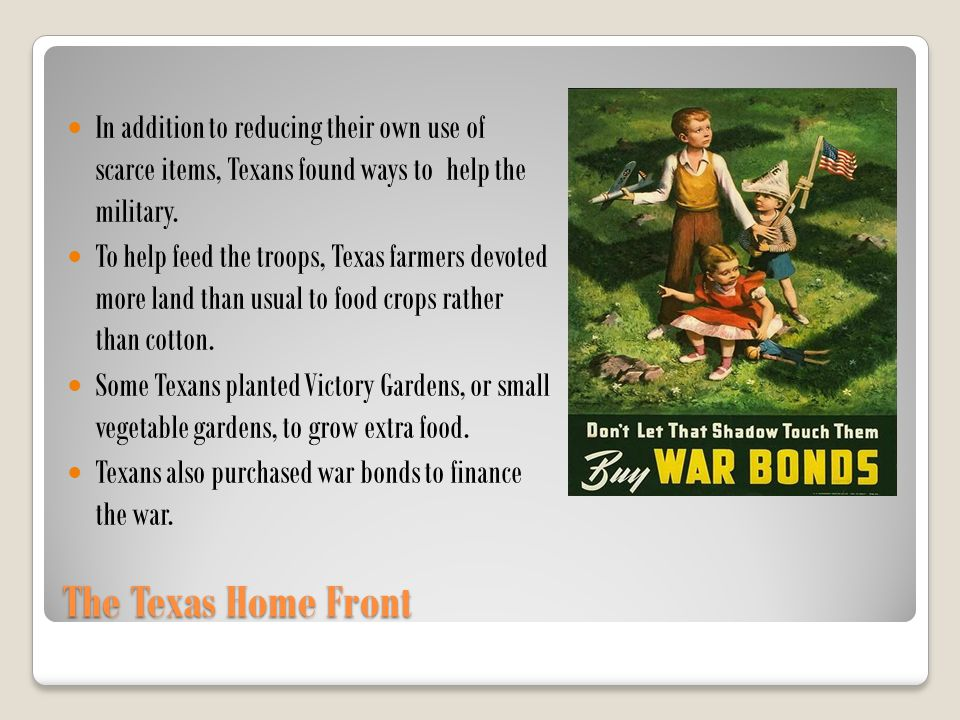 In addition to reducing their own use of scarce items, Texans found ways to help the military.
