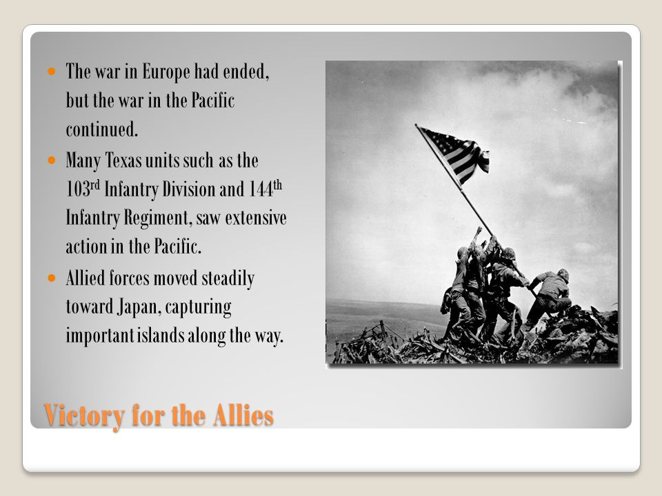 The war in Europe had ended, but the war in the Pacific continued.