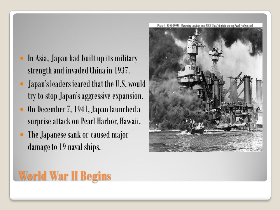 In Asia, Japan had built up its military strength and invaded China in 1937.