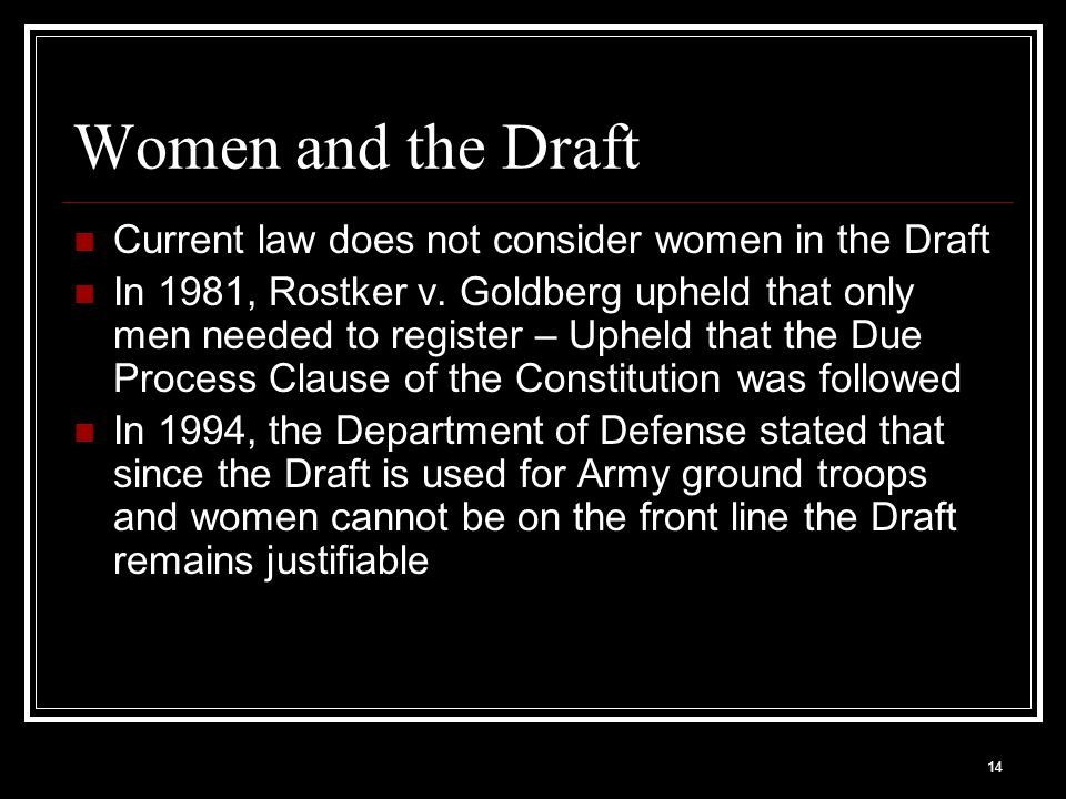 Women and the Draft Current law does not consider women in the Draft
