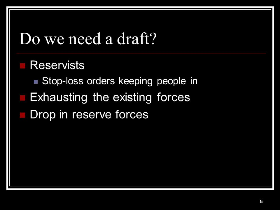 Do we need a draft Reservists Exhausting the existing forces