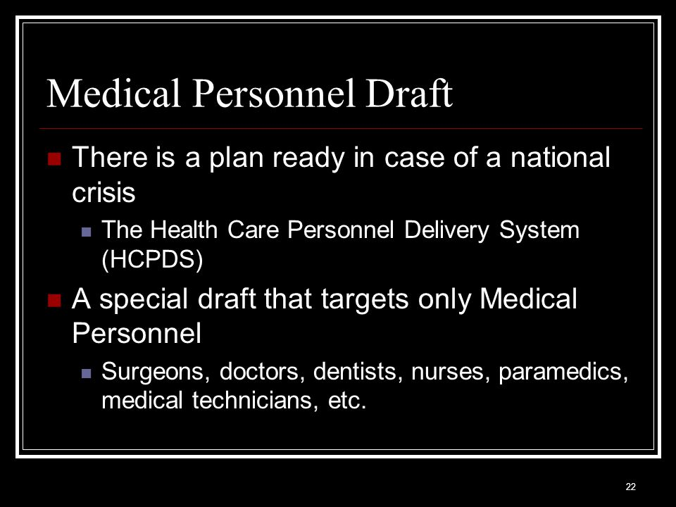 Medical Personnel Draft