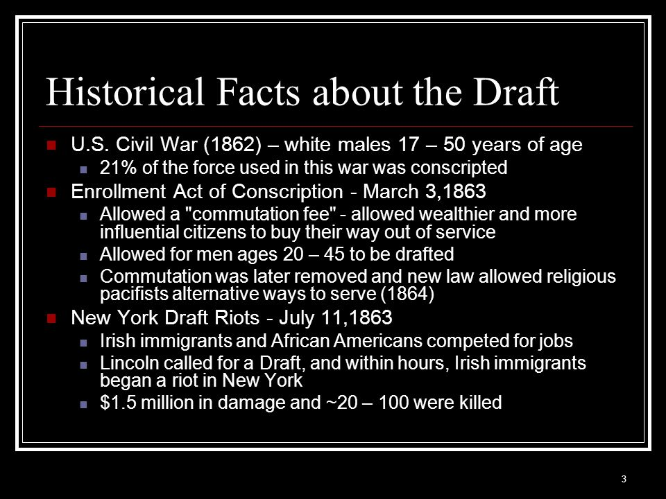 Historical Facts about the Draft