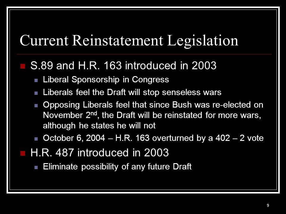 Current Reinstatement Legislation