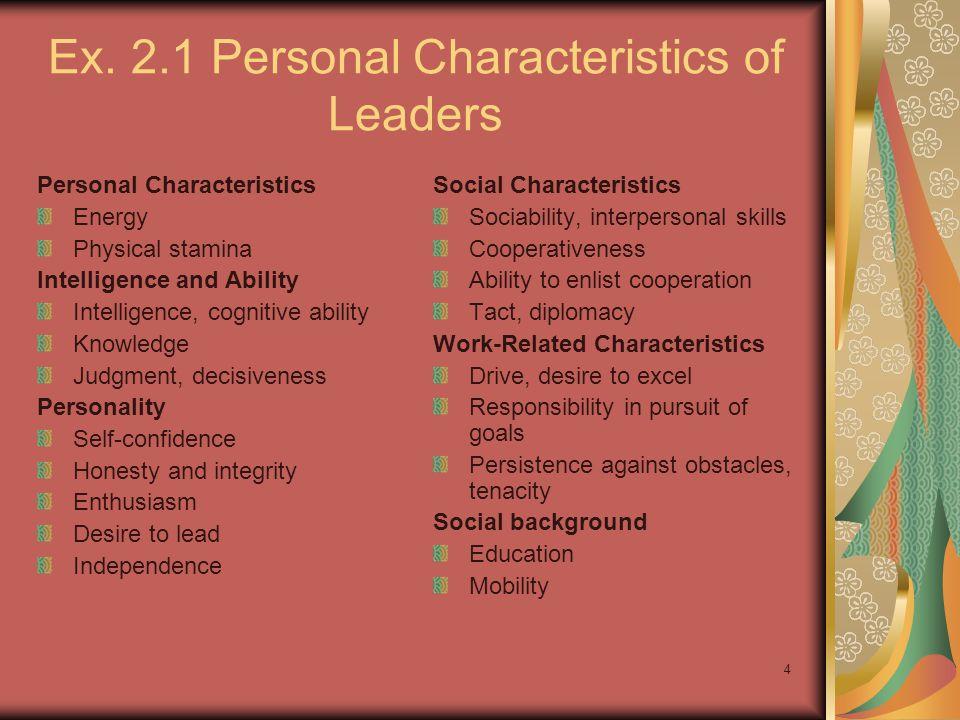 Ex. 2.1 Personal Characteristics of Leaders