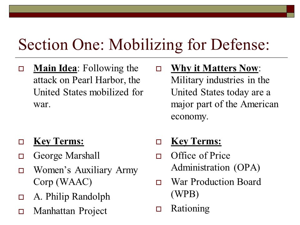 Section One: Mobilizing for Defense: