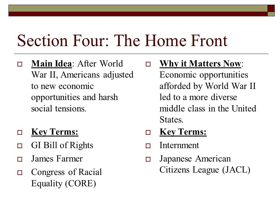 Section Four: The Home Front