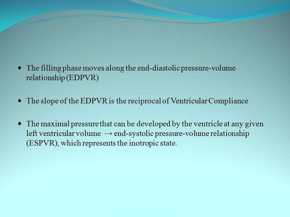 The filling phase moves along the end-diastolic pressure-volume relationship (EDPVR)
