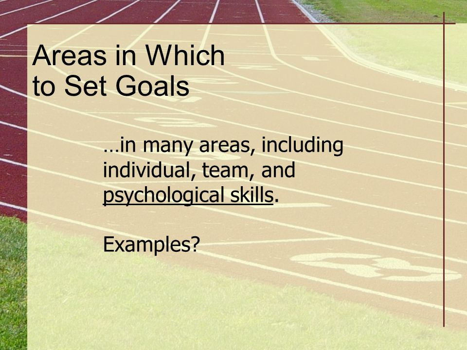 Areas in Which to Set Goals