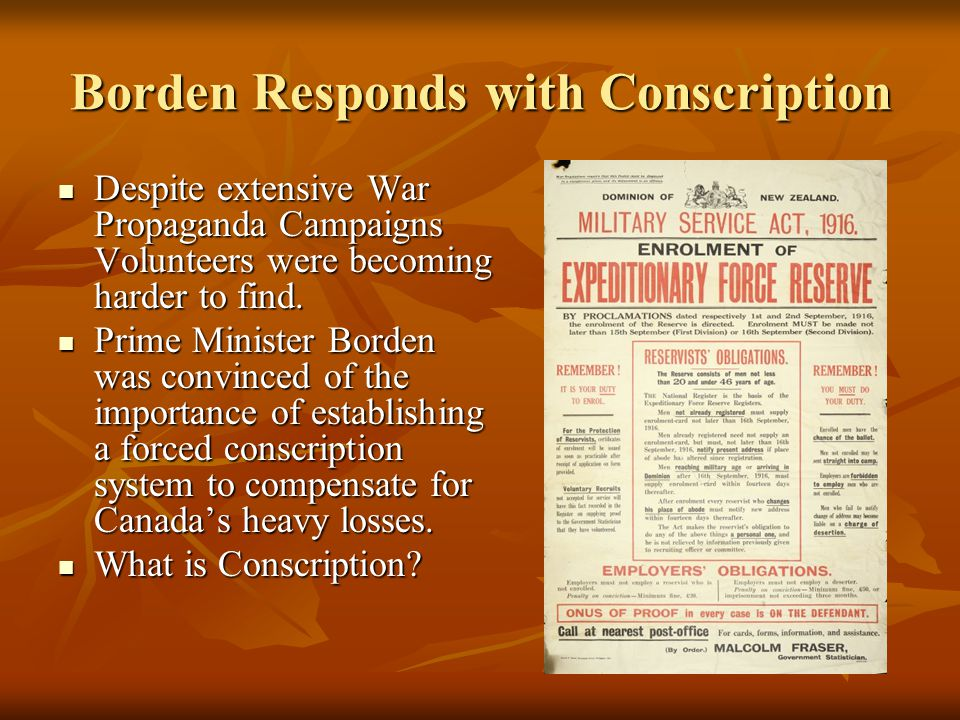 Borden Responds with Conscription