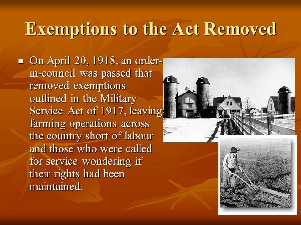 Exemptions to the Act Removed