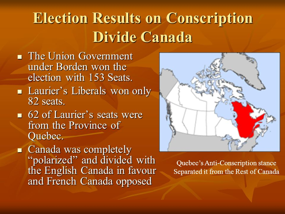 Election Results on Conscription Divide Canada