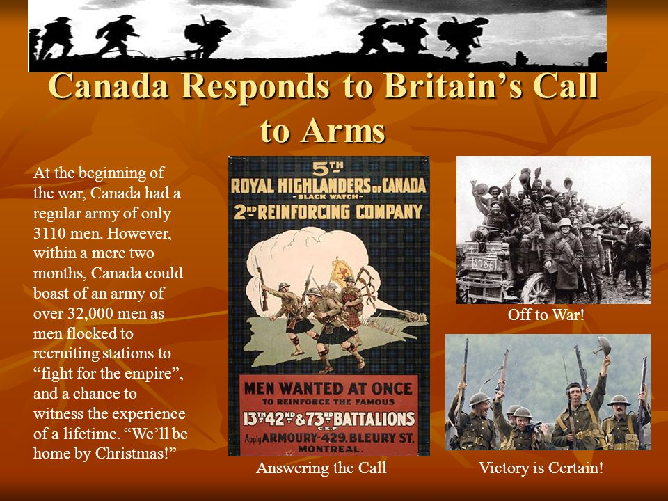 Canada Responds to Britain's Call to Arms