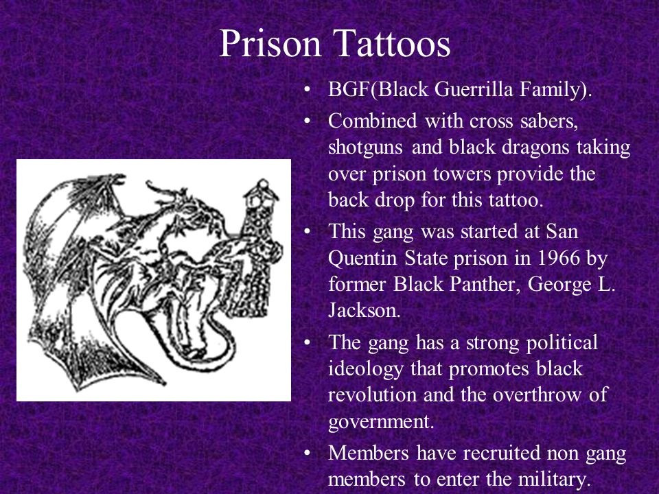 Prison Tattoos BGF(Black Guerrilla Family).