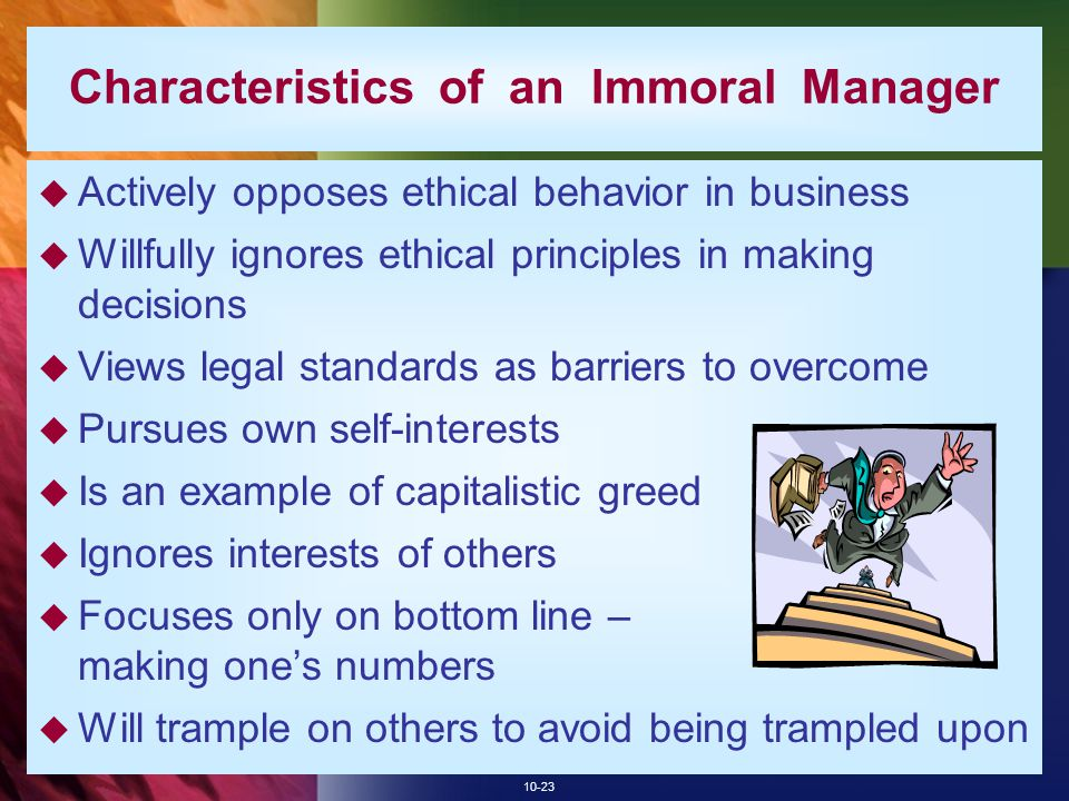 Characteristics of an Immoral Manager