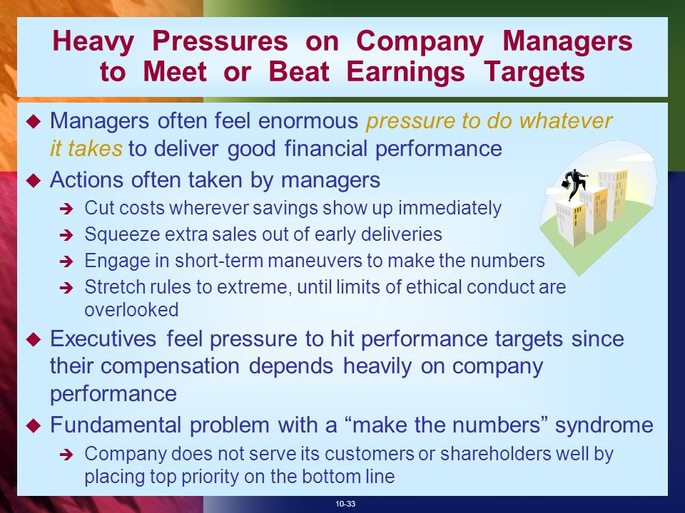 Heavy Pressures on Company Managers to Meet or Beat Earnings Targets