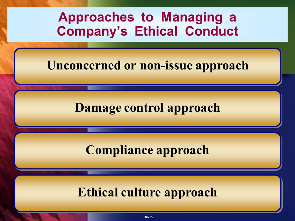 Approaches to Managing a Company's Ethical Conduct