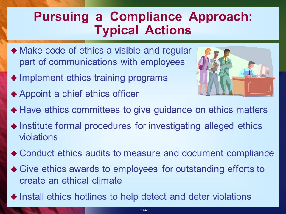 Pursuing a Compliance Approach: Typical Actions