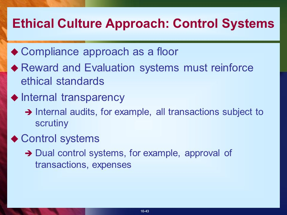 Ethical Culture Approach: Control Systems