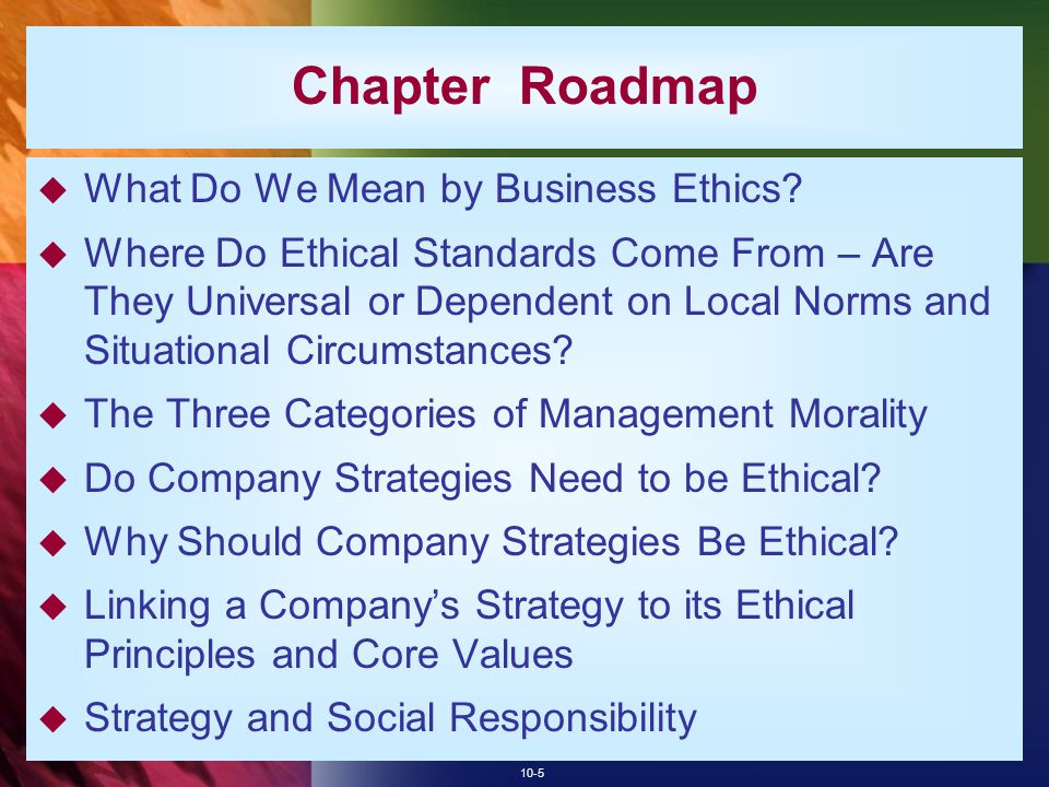 Chapter Roadmap What Do We Mean by Business Ethics