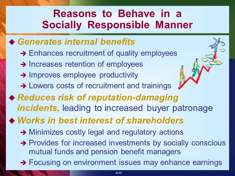 Reasons to Behave in a Socially Responsible Manner