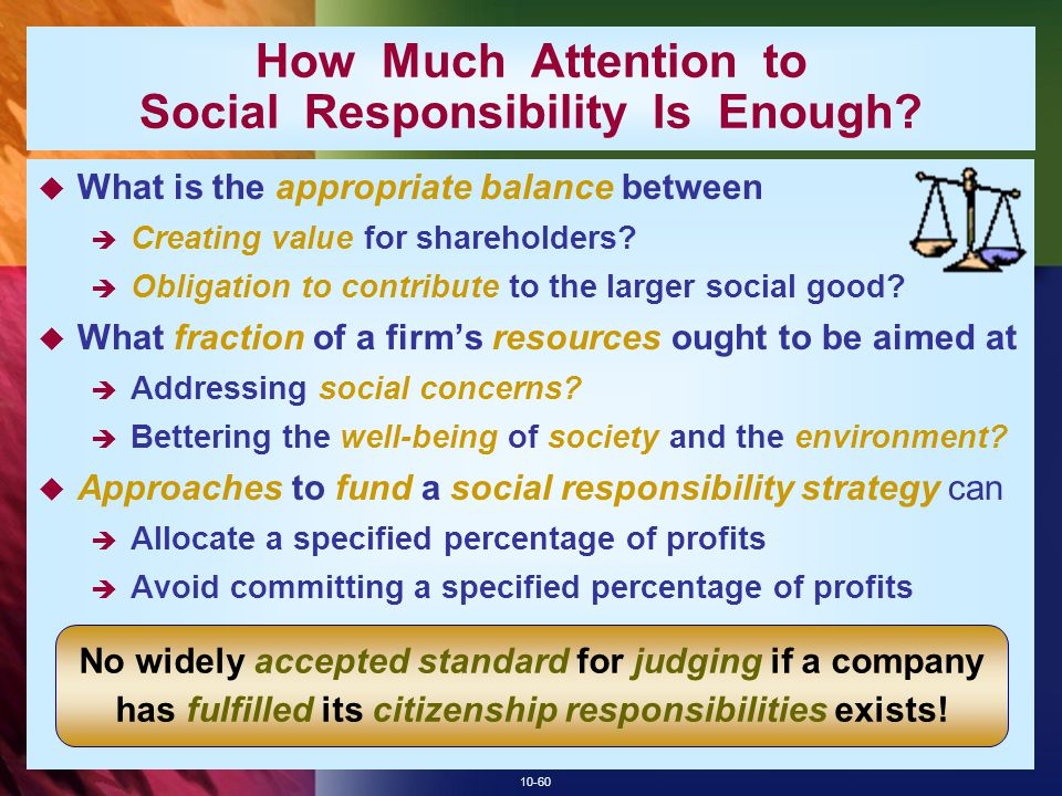 How Much Attention to Social Responsibility Is Enough