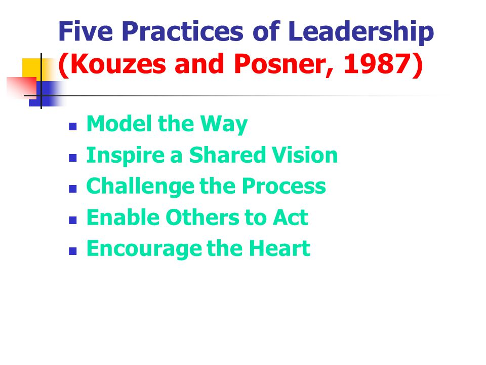 Five Practices of Leadership (Kouzes and Posner, 1987)