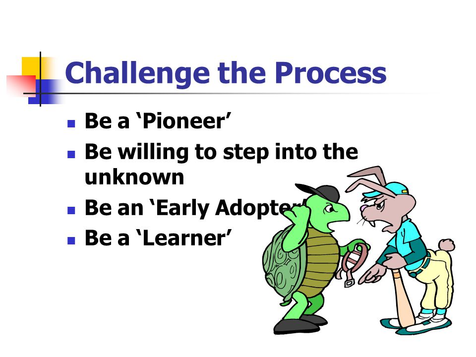 Challenge the Process Be a 'Pioneer'