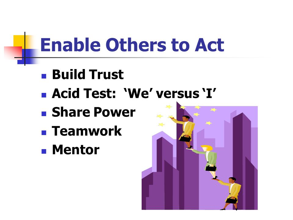 Enable Others to Act Build Trust Acid Test: 'We' versus 'I'