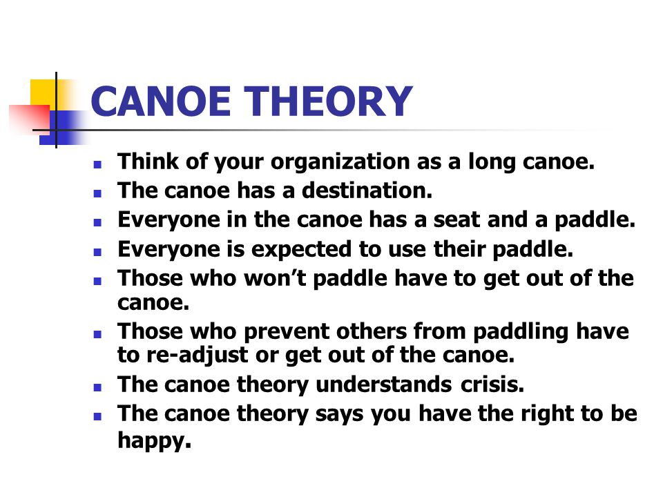 CANOE THEORY Think of your organization as a long canoe.
