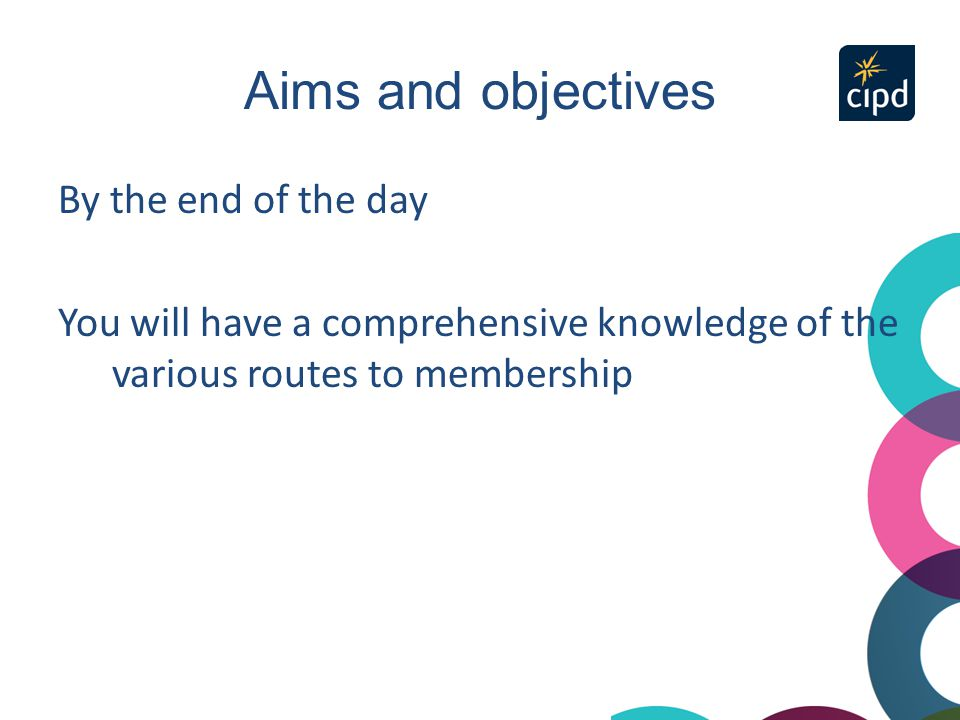 Aims and objectives By the end of the day