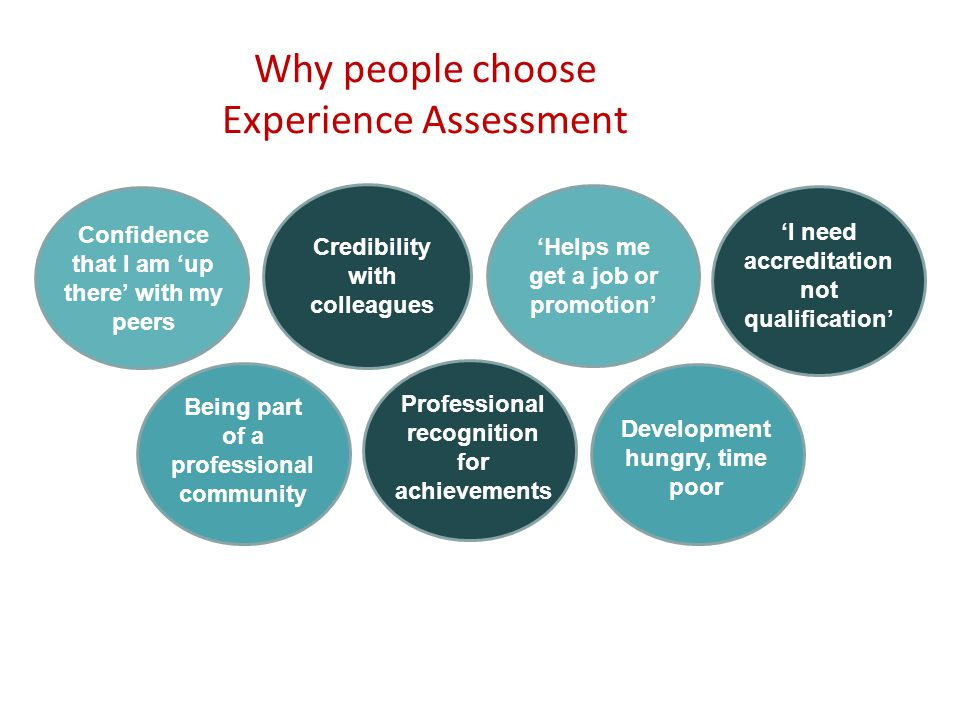 Why people choose Experience Assessment