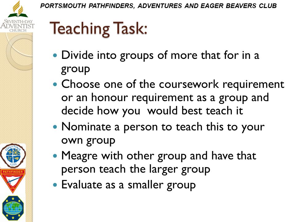 Teaching Task: Divide into groups of more that for in a group