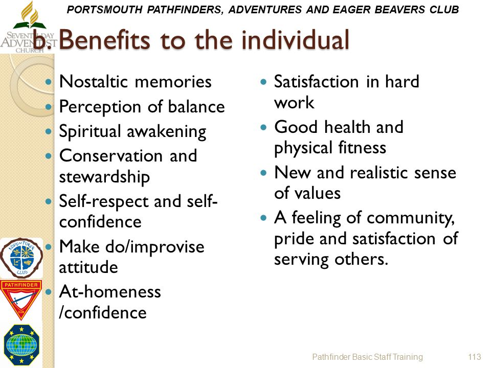 b. Benefits to the individual