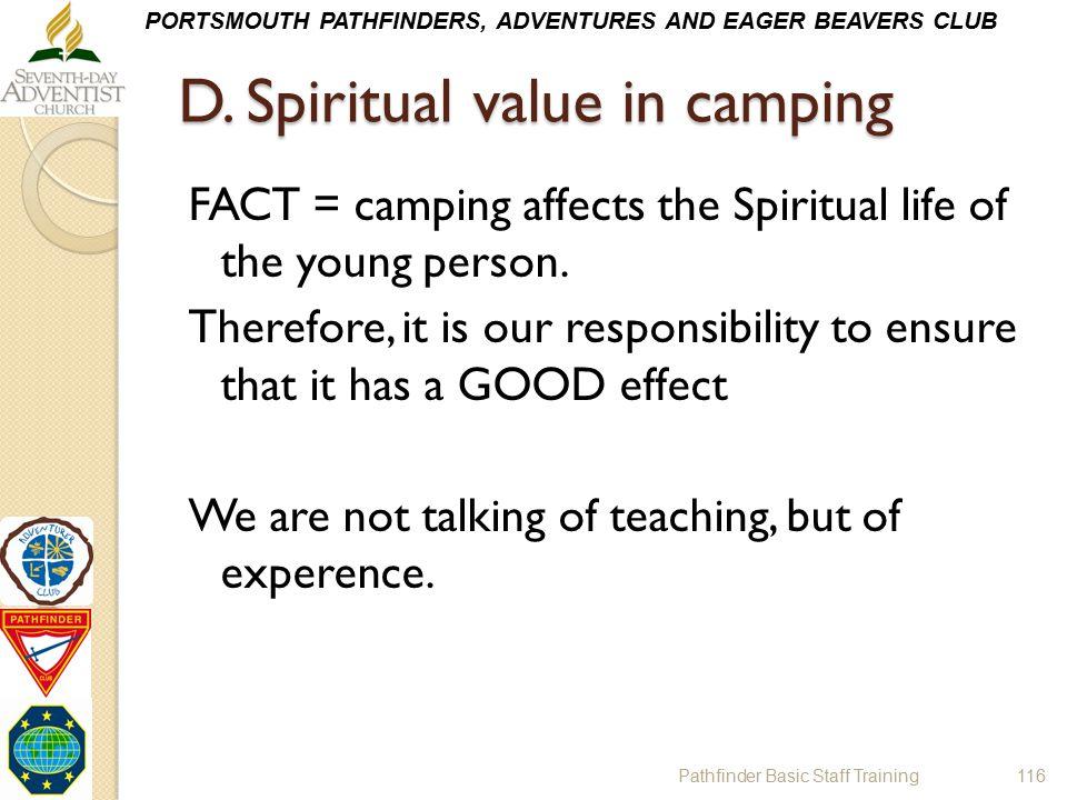 D. Spiritual value in camping