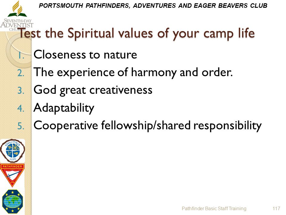 Test the Spiritual values of your camp life