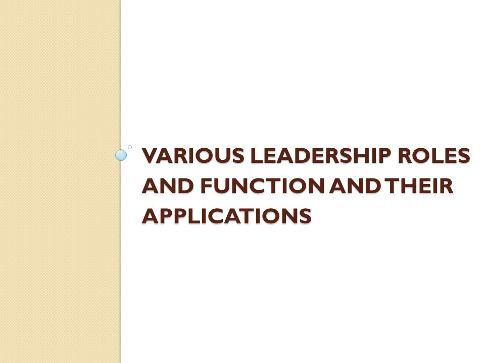 Various Leadership Roles And Function And Their Applications